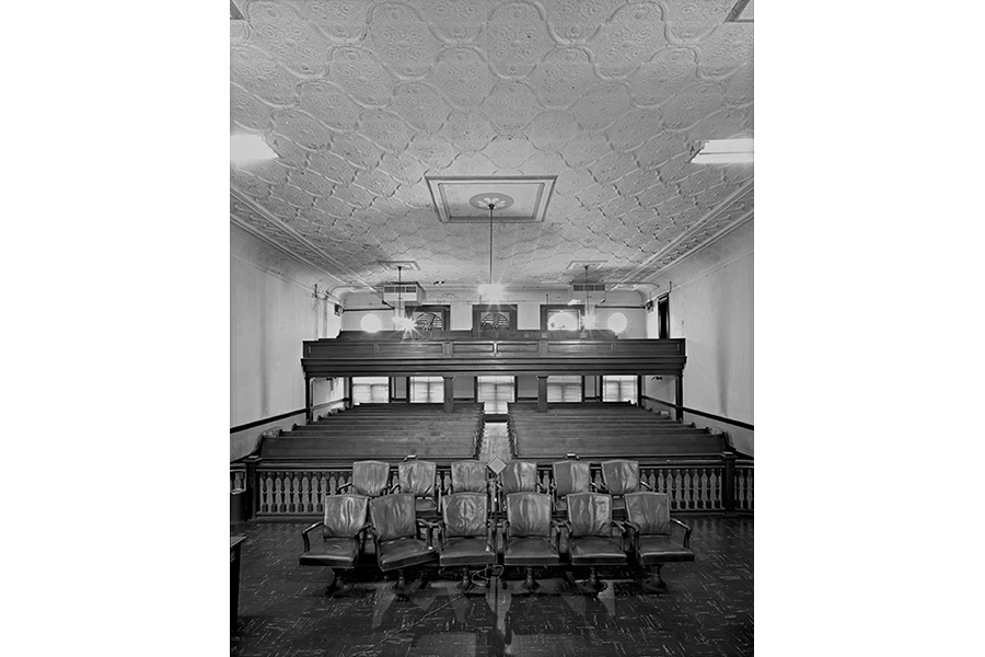 Jury Box and Courtroom, Macon County Courthouse. Tuskegee, AL 1977 by Jim Dow
