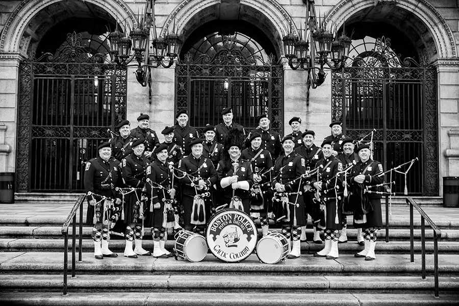 "Boston Police Gaelic Column of Pipes and Drums at the Boston Public Library by Bill Brett, from ""Boston: Irish"" (Three Bean Press; 2014)"