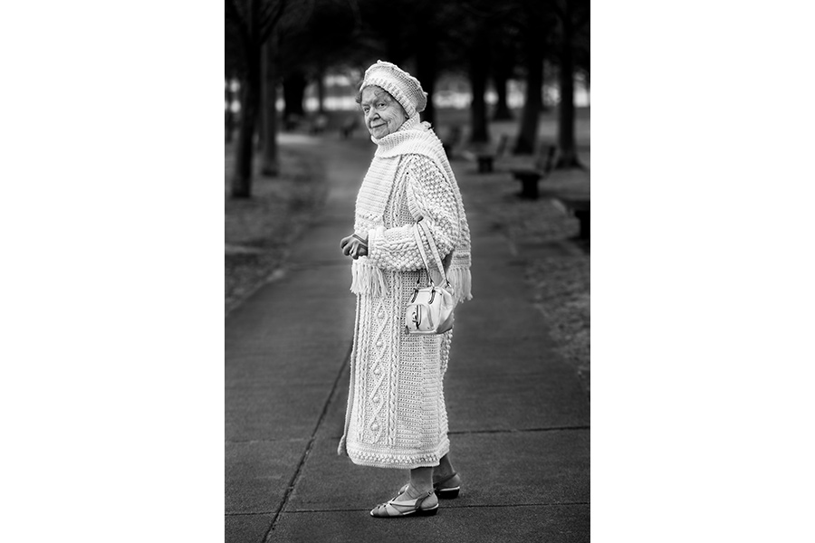 "Sister Evelyn Hurley in a coat, scarf and cap she knitted in South Boston by Bill Brett, from ""Boston: Irish"" (Three Bean Press; 2014)"