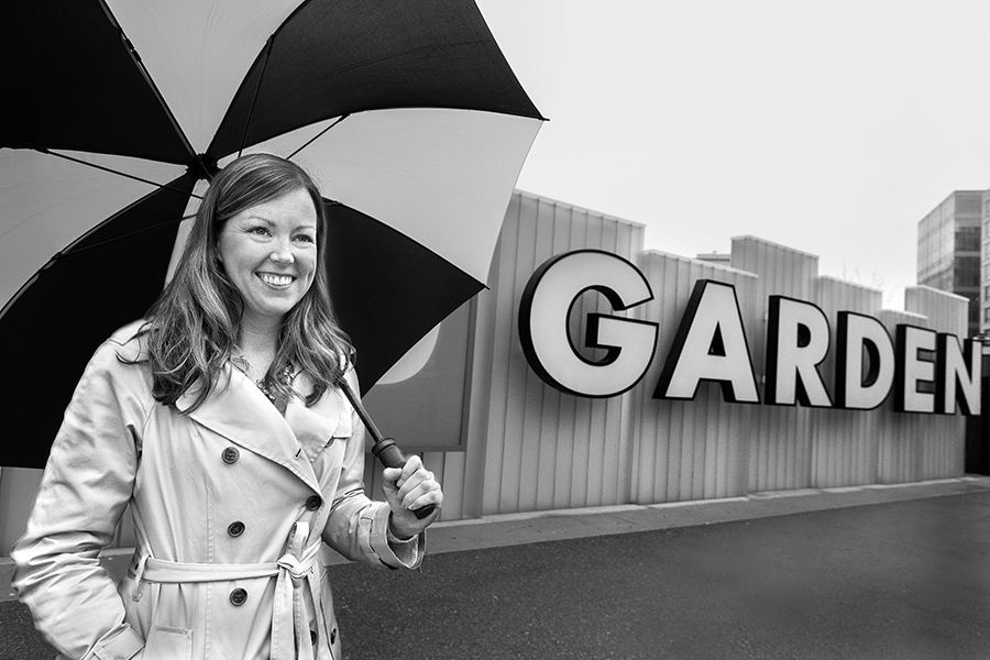 "TD Garden's Director of Communications Tricia McCorkle, at the TD Garden, North Station, Boston, by Bill Brett, from ""Boston: Irish"" (Three Bean Press; 2014)"