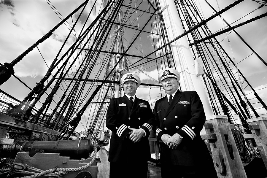 "Commander Sean D. Kearns and Commander Robert L. Gillen, on board the USS Constitution, U.S. Navy Shipyard, Charlestown, by Bill Brett, from ""Boston: Irish"" (Three Bean Press; 2014)"